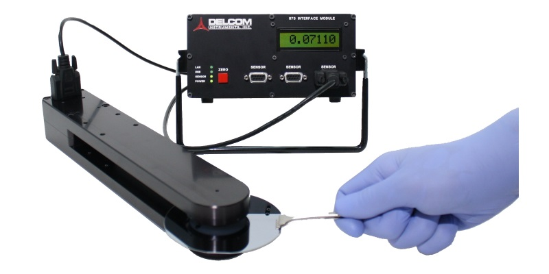 Delcom noncontact eddy current sheet resistance meter for the measurement of thin materials such as touch screens, photovoltaics, architectural glass, metalized labels, susceptors, flex circuitry, low observables, and more.